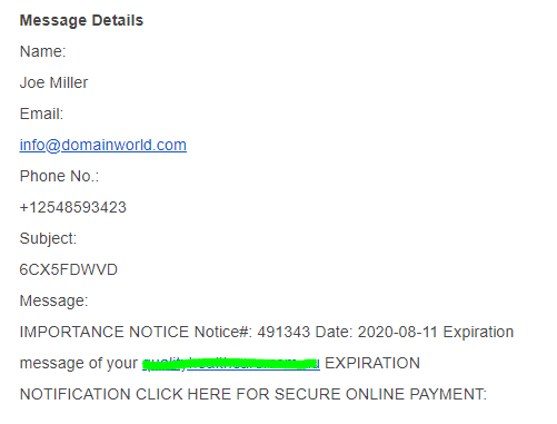 Joe Miller - Domain Scam